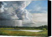 Storm Painting Canvas Prints - Rain Over Oklahoma Canvas Print by Anna Bain