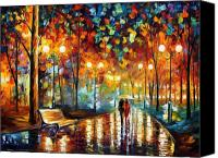 Afremov Canvas Prints - Rain Rustle Canvas Print by Leonid Afremov