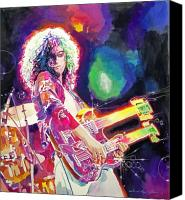 Featured Painting Canvas Prints - Rain Song - Jimmy Page Canvas Print by David Lloyd Glover