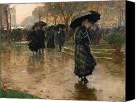 Damp Canvas Prints - Rain Storm Union Square Canvas Print by Childe Hassam