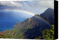 Kalalau Canvas Prints - Rainbow Along the Na Pali Coast Kauai Hawaii from the Kalalau Lookout Canvas Print by Brendan Reals