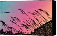 Black Tie Canvas Prints - Rainbow Batik Sea Grass Gradient Silhouette Canvas Print by Kathy Clark