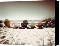 Chairs Canvas Prints - Rainbow Beach-Sepia Play Canvas Print by Chris Andruskiewicz