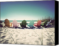 Beach Chairs Canvas Prints - Rainbow Beach-Vintage Canvas Print by Chris Andruskiewicz