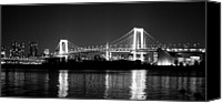 Japanese Canvas Prints - Rainbow Bridge At Night Canvas Print by Xkhol