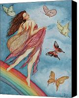 Fantasy Drawings Canvas Prints - Rainbow Dancer Canvas Print by Jane Indigo Moore