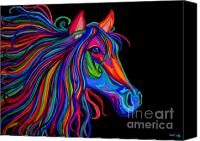 Horse Drawings Canvas Prints - Rainbow Horse Head Canvas Print by Nick Gustafson