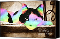 Animal Mixed Media Canvas Prints - Rainbow Kitty Abstract Canvas Print by Andee Photography