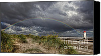 Storm Canvas Prints - Rainbow Lighthouse Canvas Print by Adrian Evans