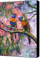 Fauna Painting Canvas Prints - Rainbow Lorikeets Canvas Print by Zaira Dzhaubaeva