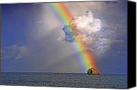 Harmonic Canvas Prints - Rainbow on Birdrock- St Lucia. Canvas Print by Chester Williams