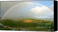 Raining Canvas Prints - Rainbow over Boquete Canvas Print by Heiko Koehrer-Wagner