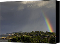 Storm Canvas Prints - Rainbow Over Carmel Canvas Print by Mike Herdering