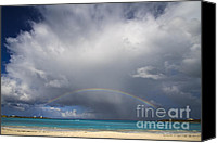 Beach Scenery Canvas Prints - Rainbow Over Emerald Bay Canvas Print by Dennis Hedberg