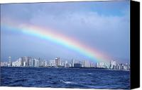 Waikiki Canvas Prints - Rainbow Over Waikiki Canvas Print by Mary Van de Ven - Printscapes