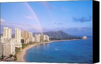 Waikiki Canvas Prints - Rainbow Over Waikiki Canvas Print by William Waterfall - Printscapes