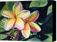Plumeria Canvas Prints - Rainbow Plumeria Canvas Print by Marionette Taboniar