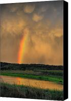 Country Scenes Photo Canvas Prints - Rainbow Reflection Canvas Print by Emily Stauring