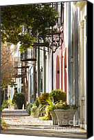 Houses Canvas Prints - Rainbow Row Charleston SC 2 Canvas Print by Dustin K Ryan