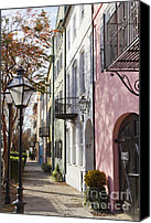 Charleston Sc Harbor Tours Canvas Prints - Rainbow Row Charleston SC 3 Canvas Print by Dustin K Ryan