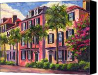 Palm Trees Canvas Prints - Rainbow Row Charleston Sc Canvas Print by Jeff Pittman