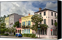 Low Country Canvas Prints - Rainbow Row II Canvas Print by Drew Castelhano