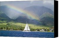 Sail Canvas Prints - Rainbow Sailboat Maui Canvas Print by Monica & Michael Sweet - Printscapes