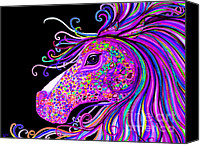 Rainbow Tapestries Textiles Canvas Prints - Rainbow Spotted Horse Head 2 Canvas Print by Nick Gustafson