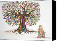 Rainbow Tapestries Textiles Canvas Prints - Rainbow tree dreams Canvas Print by Nick Gustafson