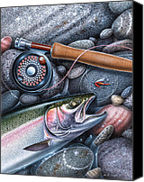 Shore Painting Canvas Prints - Rainbow Trout Canvas Print by JQ Licensing