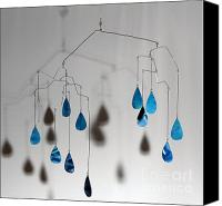 Raining Sculpture Canvas Prints - Raindrops Kinetic Mobile Sculpture Canvas Print by Carolyn Weir
