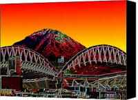 Stadium Digital Art Canvas Prints - Rainier over Qwest Field Canvas Print by Tim Allen