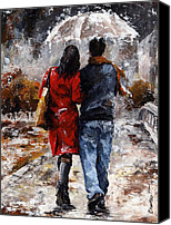 Handsome Canvas Prints - Rainy day - Walking in the rain Canvas Print by Emerico Toth