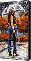 Road Painting Canvas Prints - Rainy day - Woman of New York 14 Canvas Print by Emerico Toth