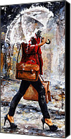 Road Painting Canvas Prints - Rainy day - Woman of New York 17 Canvas Print by Emerico Toth