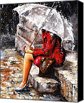 Original Canvas Prints - Rainy day - Woman of New York Canvas Print by Emerico Toth