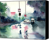 Scene Mixed Media Canvas Prints - Rainy Day Canvas Print by Anil Nene