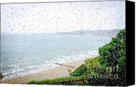 Raining Canvas Prints - RAINY DAY beach holiday vacation rain indoors window seaside Canvas Print by Andy Smy