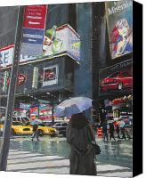 City Canvas Prints - Rainy Day in Times Square Canvas Print by Patti Mollica
