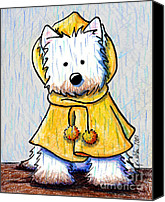 Raining Canvas Prints - Rainy Day Westie Canvas Print by Kim Niles