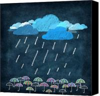 Art Education Canvas Prints - Rainy Day With Umbrella Canvas Print by Setsiri Silapasuwanchai