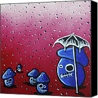 Mushroom Mixed Media Canvas Prints - Rainy Day Zombie Mushrooms Canvas Print by Jera Sky