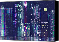 City Scape Digital Art Canvas Prints - Rainy Night In The City Canvas Print by Arline Wagner