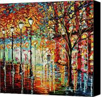 Oil Lamp Painting Canvas Prints - Rainy Night Oil Painting - Confetti Rain Canvas Print by Beata Sasik