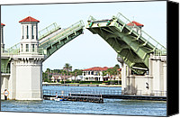 Florida Bridge Photo Canvas Prints - Raised Bridge Canvas Print by Kenneth Albin