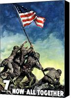 Americana Digital Art Canvas Prints - Raising The Flag On Iwo Jima Canvas Print by War Is Hell Store