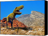 Reptiles Mixed Media Canvas Prints - Rajasaurus in The Desert Canvas Print by Frank Wilson