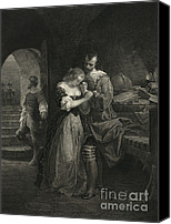 Roanoke Island Canvas Prints - Raleigh Parting With Wife, 16th Century Canvas Print by Photo Researchers