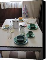 Stoneware Canvas Prints - Ralphies Breakfast Table Canvas Print by Kelly Mezzapelle