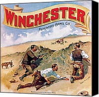 Winchester Canvas Prints - Ranchmen Protecting Stock Canvas Print by Fredrick Remington